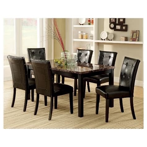 black marble kitchen table iohomes 7pc faux marble dining table set wood black target