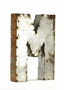 Industrial rustic metal small letter m 18 inch kathy kuo for 18 inch metal letters