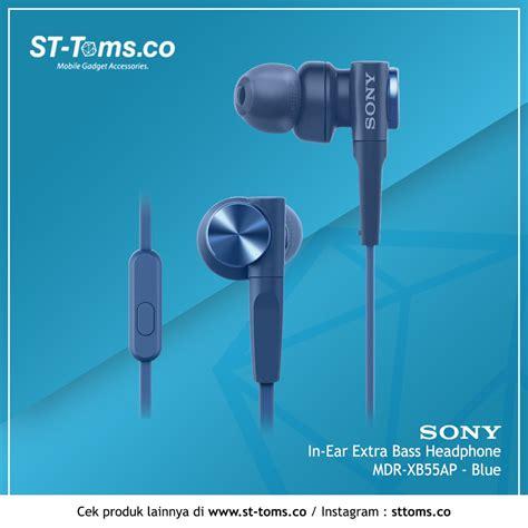 Headphone Sony Bass Biru sony in ear bass headphone mdr xb55ap xb 55ap xb