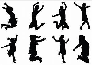 Kids Silhouettes Vector - Dancing Kids Silhouette Download ...