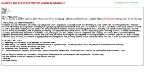 junior accountant job offer letter