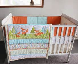 foxes woodland 4pc newborn crib bedding set baby cot set applique quilt bumpers fitted