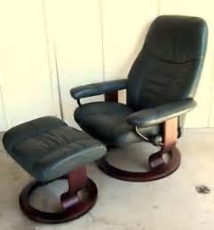 ekornes stressless recliner chair ottoman brown leather