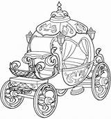 Carriage Cinderella Coloring Pages Princess sketch template
