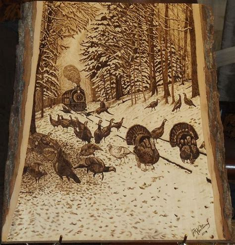 winter turkey tracks    inches wood carving art