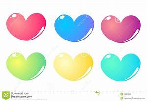 6 Colorful Hearts Set Isolated On White Background Royalty ...