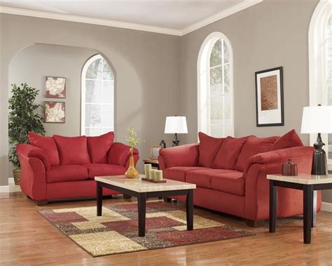 darcy sofa and loveseat red ashley furniture darcy salsa sofa loveseat rent to