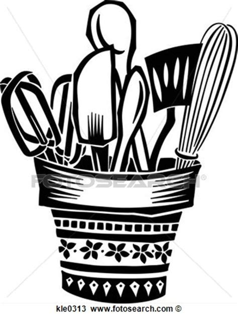 Cooking Utensils Clip Art Black and White