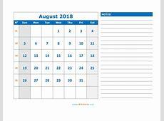 August 2018 Calendar WikiDatesorg