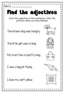adjectives printable worksheet pack kindergarten