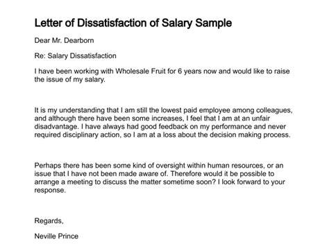 letter  dissatisfaction