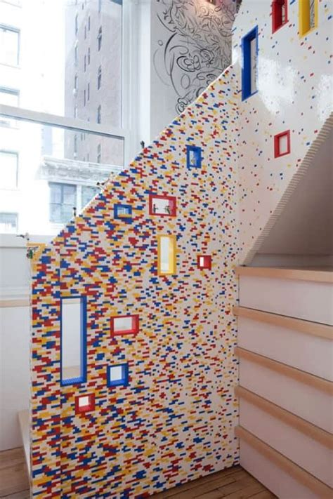 staircase shaped   lego bricks recyclart