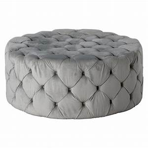 Small Round Ceiling Lights Grey Velvet Button Round Footstool