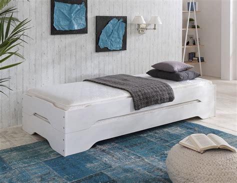 Stapelbett Gästebett Bett 90x200 Kiefer Massiv Weiss Zwei