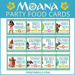 Moana Party Food Cards (+ Free Printable Snack Bar Sign