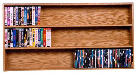 Solid Oak Wall Or Shelf Mount Dvdvhs Tapebook Cabinet