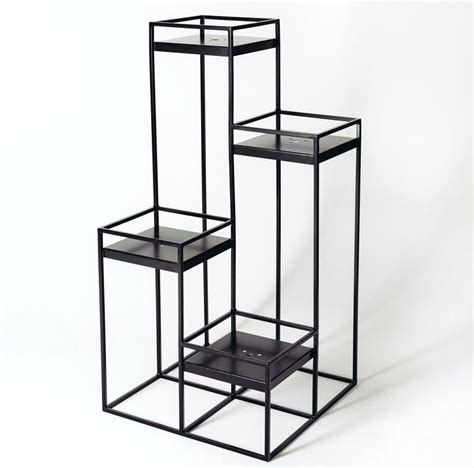 Tall Black Plant Stand Tall Metal Geometric Style Planter