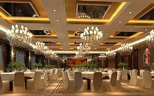 3D interior banquet hall suspended ceiling and chandeliers