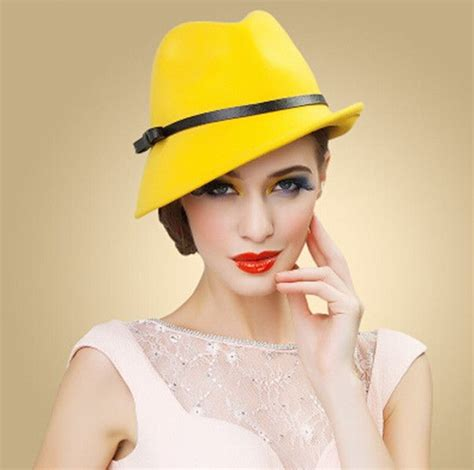 Yellow Wool Fedora Hat For Women Leather Bow Felt Hats