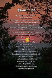 Psalm 23 Prayer Over Sunset Landscape Mixed Media by