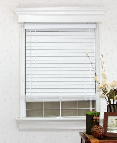 Faux Window Blinds by Faux Wood White Blind Set With Headrail Contemporary