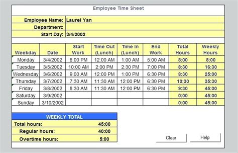 excel timesheet template with formulas excel timesheet templates weekly template free excel timesheet formula with lunch
