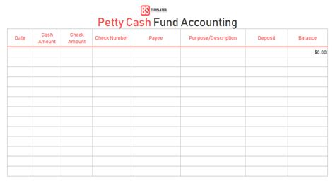 petty cash book  excel fee printable formats templates