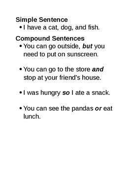 simple  compound sentences rewrite  paragraph tpt