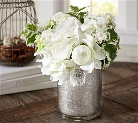 faux white flower arrangement  mercury glass vase