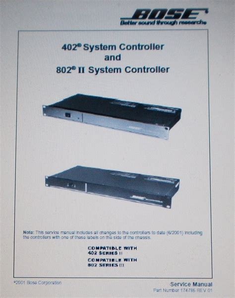 bose 802 iic and 402c system controller service manual inc blk diag an the manuals service