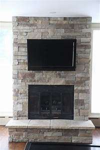 Stone Fireplaces and TVs - Traditional - Family Room