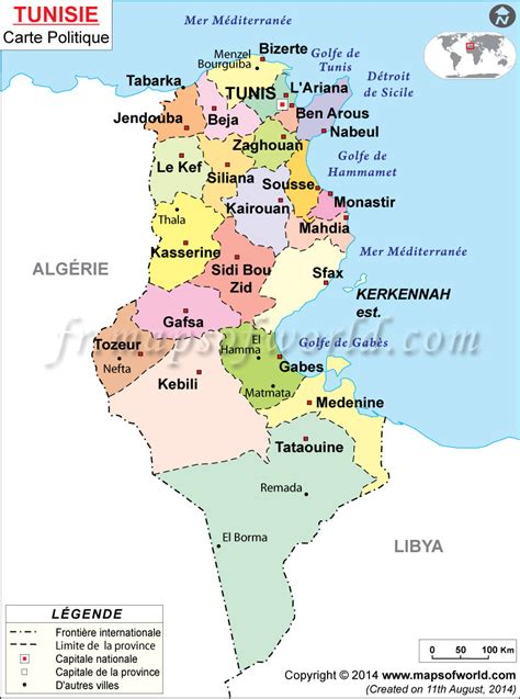 Carte De Tunisie Avec Villes by Tunisie Carte
