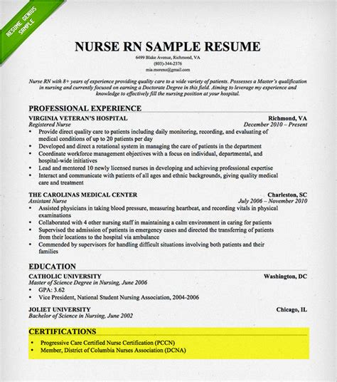 exle of resume with certification