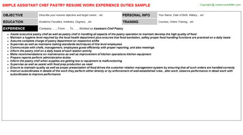 Assistant Pastry Chef Resume by Commis Chef Resumes