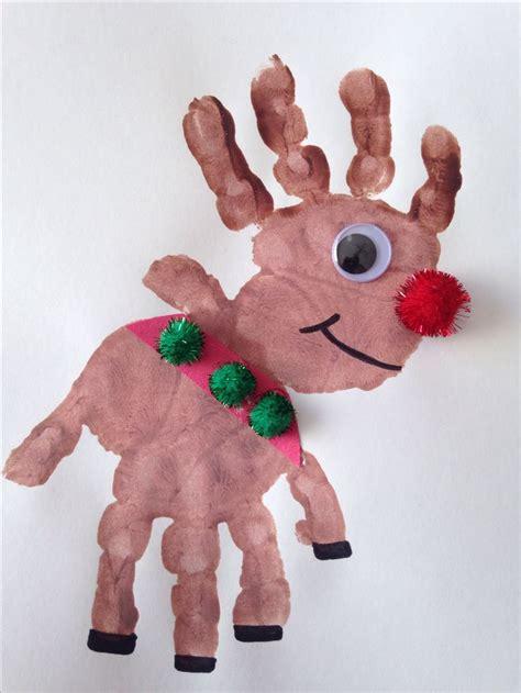Handprint Rudolph Craft December Themes Pinterest
