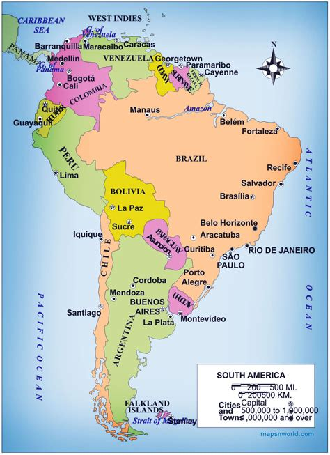 map  south america  large images backpacking