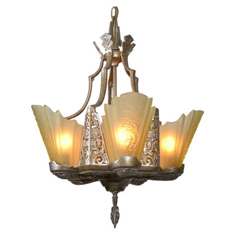 deco slip shade chandelier