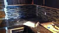 how to install glass mosaic tile Installing Mosaic Tile backsplash in log cabin Part 2 ...