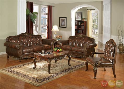 irina traditional dark wood formal living room sets