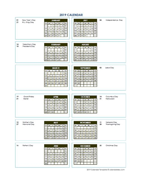 annual calendar vertical template  printable