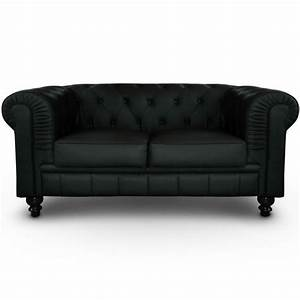 Canape 2 places chesterfield noir pas cher british deco for Canapé 2 places style anglais