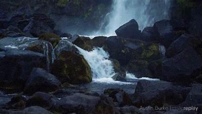 Stream Waterfall Flowing Rocks Into