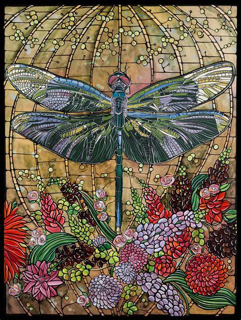 stained glass decor dragonfly art nouveau print home decor 8x10 paper
