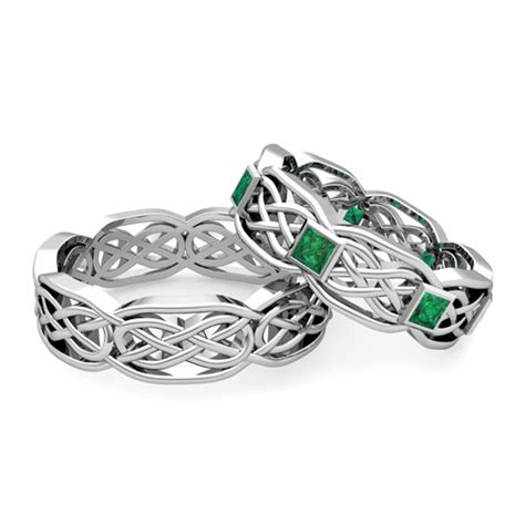 emerald wedding ring  platinum celtic wedding band