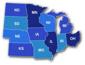 United States Midwest Region Map