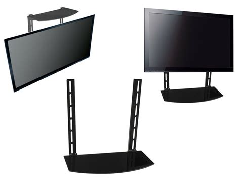 Tv Shelf For Cable Box by Glass Shelf Above Below Tv Wall Mount Bracket