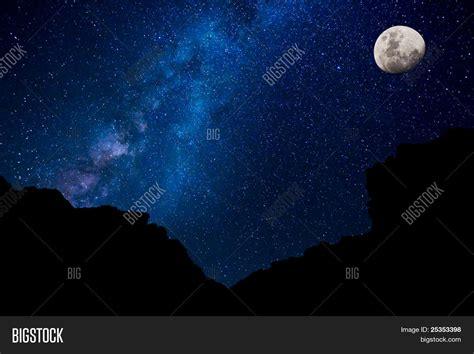 Milky Way Galaxy Moon Image Photo Free Trial Bigstock