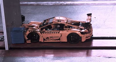 beauty  horror   lego porsche  gt rs crash test