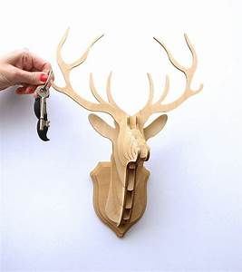 Wooden stag head trophy key hanger by clive roddy