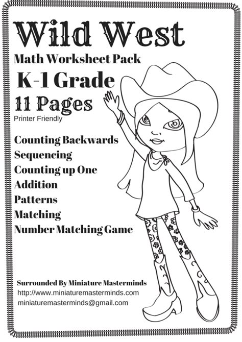 Free Printable Wild West Themed Math Worksheet Pack Kindergarten  1st Grade Printer Friendly